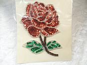 """Floral Applique Sequin Beaded Patch Motif Red Self Adhesive 4.75"""" (LC1649)"""