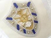 """Nautical Applique Sequin Beaded Patch Motif White Blue Self Adhesive 3.5"""" (LC1710)"""