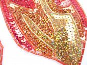 """Curved Appliques Flames Red Orange Gold Sequin Beaded MIRROR PAIR 6""""  JB117X"""