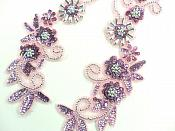 """Appliques Mirror Pair Sequin Beaded Mauve Holographic Silver w/ Pink Edge 10"""" 0183X"""