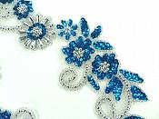 "Mirror Pair Applique Deep Turquoise Silver Floral Sequin Beaded Patch 10"" (0183X)"