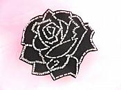 "Applique Patch Black Silver Rose Floral Beaded Sewing Motif  4"" FS582"