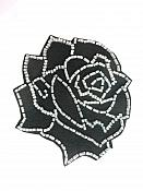 """Applique Patch Black Silver Rose Floral Beaded Sewing Motif  4"""" FS582"""