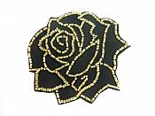 "Applique Patch Black Gold Rose Floral Beaded Sewing Motif  4"" FS582"