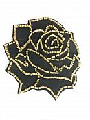 """Applique Patch Black Gold Rose Floral Beaded Sewing Motif  4"""" FS582"""