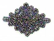 "Applique Peacock Victorian Beaded Patch Glass Stones 4"" JB115"
