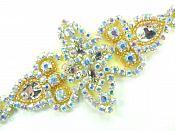 "Applique Aurora Borealis Crystal AB Rhinestone in Silver Settings w/ Gold Beads 6""  JB47"