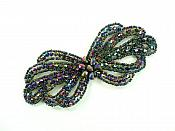"""Applique Patch Glass Beaded Peacock Costume Sewing Motif 5"""" JB213"""