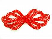 """Applique Patch Glass Beaded Red Costume Sewing Motif 5"""" JB213"""