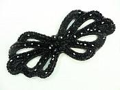 "Applique Patch Glass Beaded Black Costume Sewing Motif 5"" JB213"