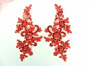 """Embroidered Venice Lace Sequin Appliques Red Floral Venice Lace Mirror Pair 9.5"""" (DH123X)"""