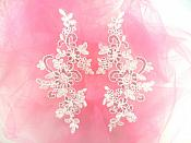 "Embroidered Venice Lace Sequin Appliques White Floral Venice Lace Mirror Pair 9.5""  DH123X"