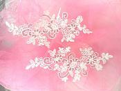"Embroidered Venice Lace Sequin Appliques White Floral Venice Lace Mirror Pair 9.5""  DH123X"