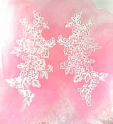"Embroidered Venice Lace Sequin Appliques Pure White Floral Venice Lace Mirror Pair 10"" DH111X"