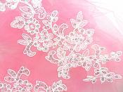 "Embroidered Venice Lace Sequin Appliques Pure White Floral Venice Lace Mirror Pair 10"" DH111X"