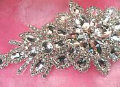"DH10 Bridal Sash Applique Crystal Rhinestone 9"""