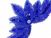 High Quality Sequin Bugle Beaded Applique Royal Blue Crystal Rhinestone Center Clothing Patch Motif 0084