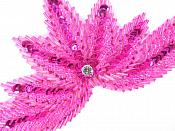 High Quality Sequin Bugle Beaded Applique Fuchsia Crystal Rhinestone Center Clothing Patch Motif 0084