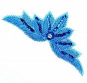 High Quality Sequin Bugle Beaded Applique Turquoise Crystal Rhinestone Center Clothing Patch Motif 0084