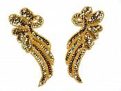 """Sequin Appliques Gold Beaded Mirror Pair Dance Costume Patch 7"""" XR388X"""