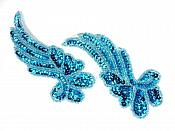 """Sequin Appliques Turquoise Beaded Mirror Pair Dance Costume Patch 7"""" XR388X"""
