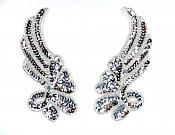 """Sequin Appliques Silver Beaded Mirror Pair Dance Costume Patch 7"""" XR388X"""