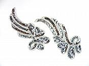 "Sequin Appliques Silver Beaded Mirror Pair Dance Costume Patch 7"" XR388X"