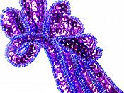 "Sequin Appliques Purple Beaded Mirror Pair Dance Costume Patch 7"" XR388X"