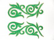 """Embroidered Applique Mirror Pair Green Gold Metallic Iron On Patch 5.25"""" GB120X"""