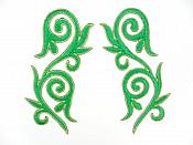 "Embroidered Applique Mirror Pair Green Gold Metallic Iron On Patch 5.25"" GB120X"