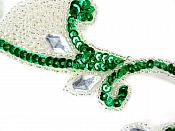 "REDUCED Sequin Appliques Mirror Pair Green with Clear Jewels Costume Patch Motifs 6"" RM0034"
