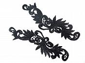 "Embroidered Appliques Mirror Pair Black Venise Lace 11.75"" GB252X"