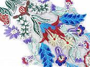 "Large Lace Embroidered Multi-Color Designer Applique 17"" GB762"