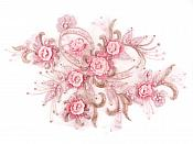 """3D Embroidered Silk Pink Floral Applique With Pearls 13"""" (GB764)"""