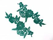 "Appliques Embroidered Lace Hunter Green Floral Venice Mirror Pair Motifs 9"" (GB775X)"