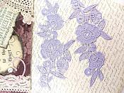 "Appliques Embroidered Lace Lavender Floral Venice Mirror Pair Motifs 9"" (GB775X)"