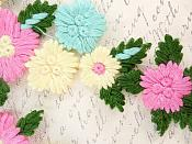 "Lace Embroidered Multi-Color Designer Floral Mirror Pair Appliques 6.5"" GB802"