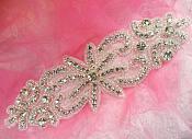 """Rhinestone Applique Crystal Glass Silver Beaded Bridal Sash Patch 7.5"""" (XR363)"""