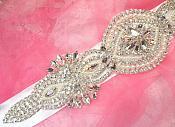Bridal Sash Crystal Rhinestone Silver Setting w/ Pearls On White Satin Double Face Ribbon (BSZ12)