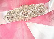 Bridal Sash Crystal Rhinestone Silver Setting w/ Pearls On White Satin Double Face Ribbon (BSZ8)