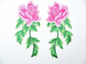 "Pink Fuschia Embroidered Appliques Floral Mirror Pairs 7.5"" GB695X"