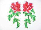"Red Pink Embroidered Appliques Floral Mirror Pairs 7.5"" GB695X"