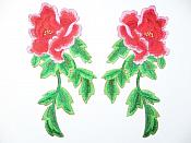 """Red Pink Embroidered Appliques Floral Mirror Pairs 7.5"""" GB695X"""