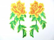 "Yellow Orange Embroidered Appliques Floral Mirror Pairs 7.5"" GB695X"