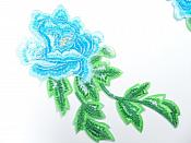 """Turquoise Embroidered Appliques Floral Mirror Pairs 7.5"""" GB695X"""