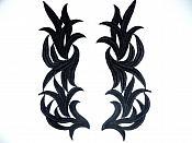 """Black Embroidered Appliques Costume Designer Mirror Pairs 11.25"""" GB691X"""