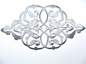 "Silver Embroidered Applique Metallic Designer Scroll Motif 11"" GB685"