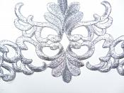 "Silver Embroidered Applique Metallic Designer Scroll Motif 8"" RMGB687"