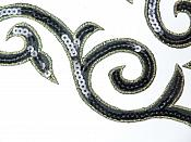 "Sequin Embroidered Appliques Black Gold Designer Mirror Pair Iron on 9"" (GB505X)"