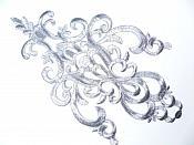 "Silver Embroidered Applique Metallic Designer Scroll Motif 10"" GB681"